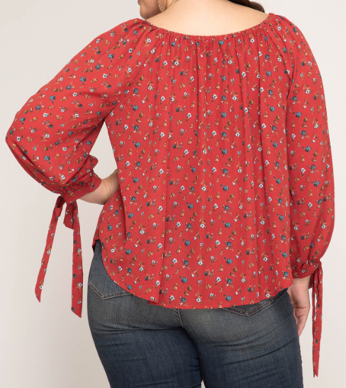 Brick Long Sleeve Woven Foral Top