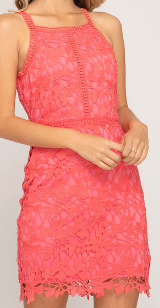 Sugar Coral Sleeveless Lace Dress
