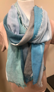 Blue, Sage and Grey Striped Scarf