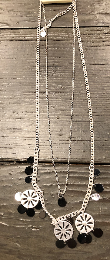 Silver and Black Circle Necklace