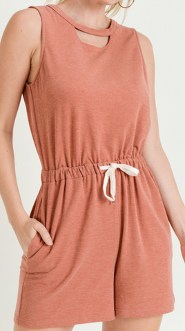 Brick Romper with Cut out Neck