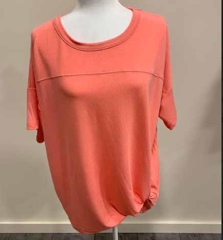 Coral Knit Top with Side Twist