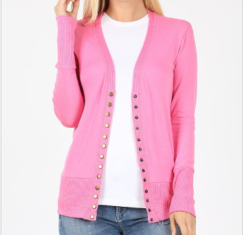 Candy Pink SNAP BUTTON CARDIGAN