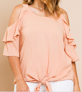Blush Linen Ruffle Open Shouder Blouse