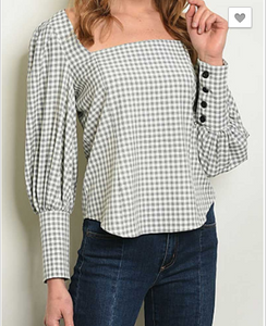 CUFF SLEEVE SQUARE CHECKERED TOP