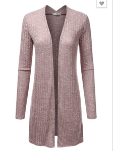 Mauve Long Knitted Cardigan
