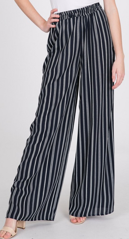 Navy Striped High Rise Pants