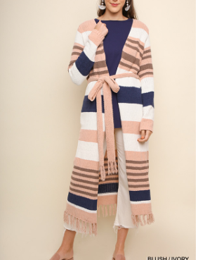 Multicolor Striped Chenille Cardigan
