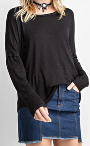 Black Long Sleeve Top with Stones