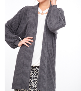 Charcoal Ribbed Detail Cardigan