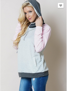 Pink Color Block Double Hoodie