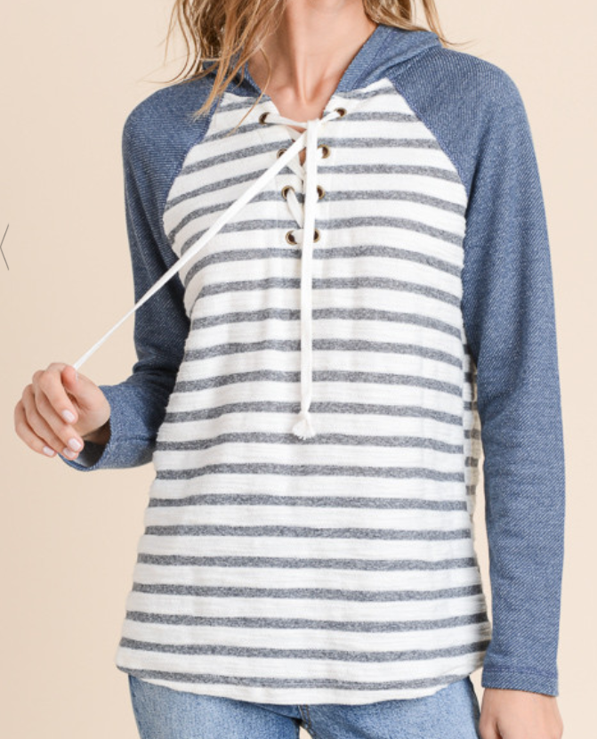 Denim Striped Lace Up Hoodie