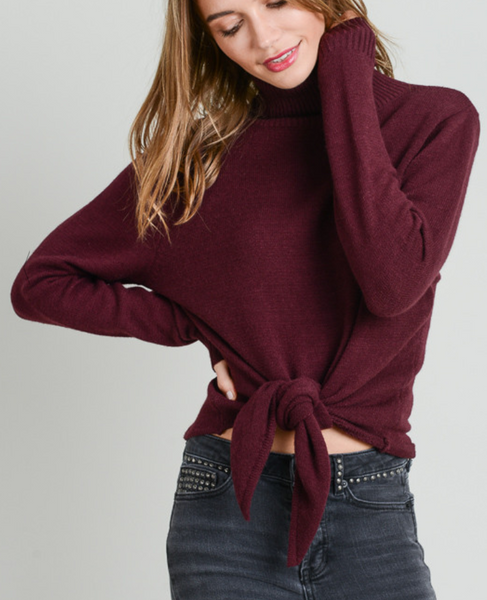 Plum Front Tie Turtleneck Sweater