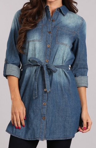 Denim Long Body Top