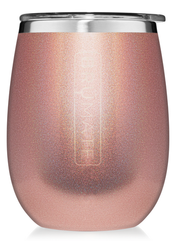 14 oz Wine Tumbler Glitter Rose Gold