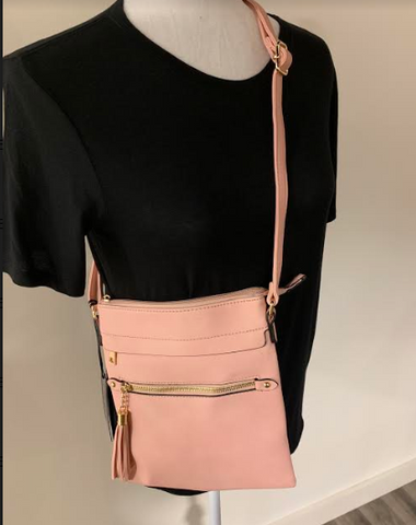 Blush Crossbody w/Tassel Purse