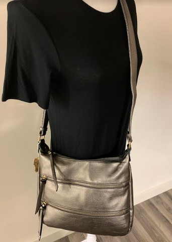 Pewter Slouch Zipper Front Purse