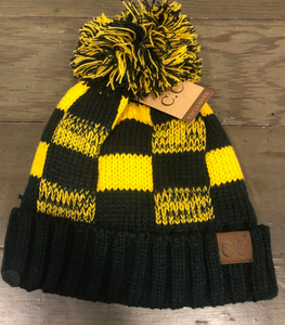 CC Green/Gold Lined Hat with Pom