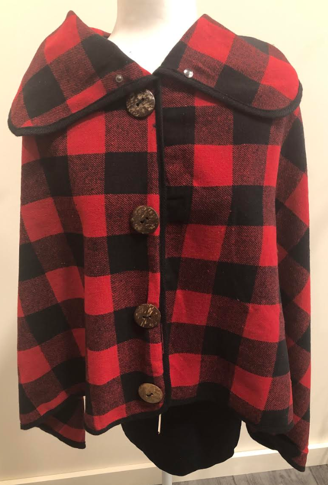 Red/Black Buffalo Plaid Poncho with Buttons