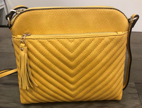 Mustard Chevron Stitch Crossbody