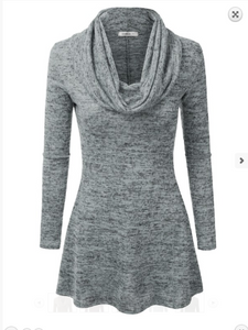 H. Gray Cowl Neck Tunic Dress