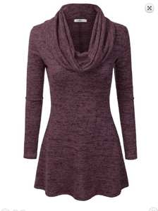 Wine Cowl Neck Tunic Dress