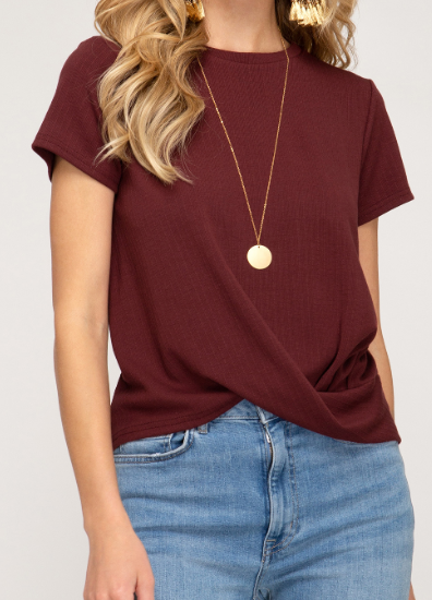 Burgundy Short Sleeve Front Pleated Top