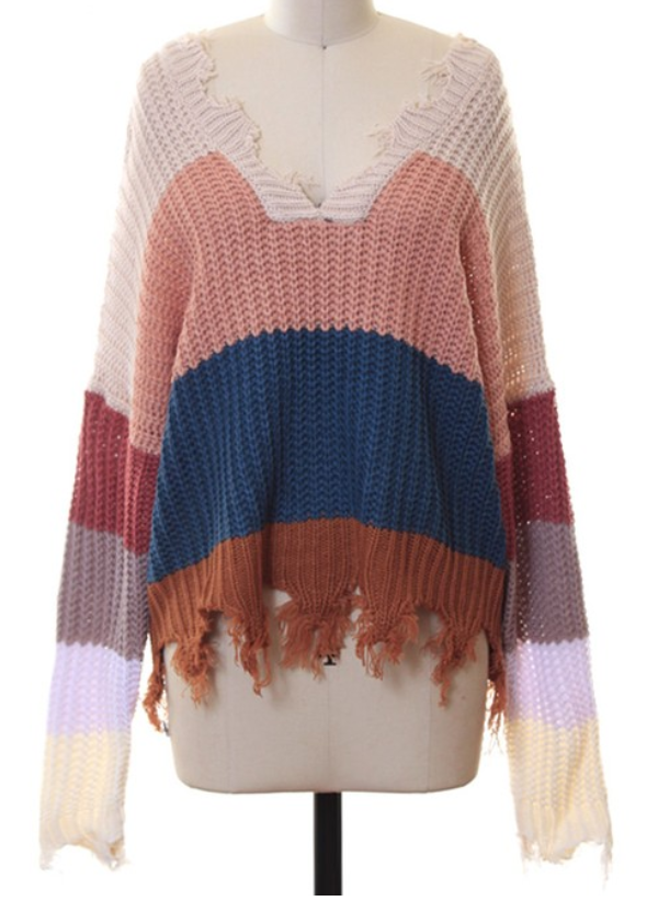 Beige/Dusty Pink Distressed Fringe Sweater