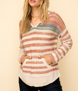 Multi Color Stripe Hoodie Sweater