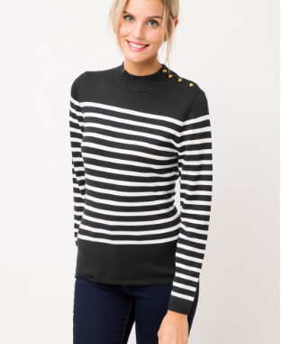 Black/White Stripe Mock Neck