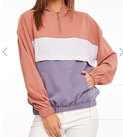 Mauve Color Block Zip Top