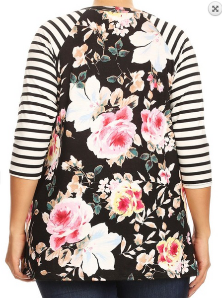 Black Floral Print Raglan Top