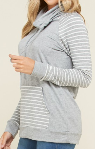 Heather Gray Cowl Neck Sweater
