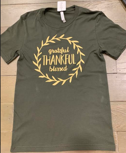 Olive Grateful, Thankful, Blessed Tee