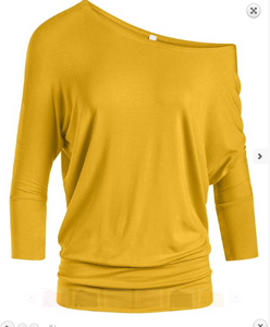 Mustard Off Shoulder Tunic Top