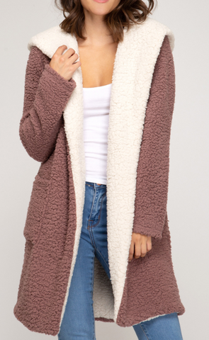 Mauve Fleece Coat with Pockets