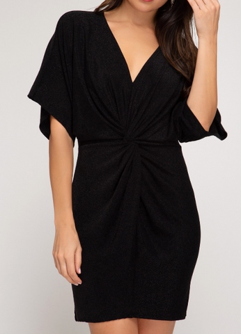 Black Batwing Knit Dress with Front Twist