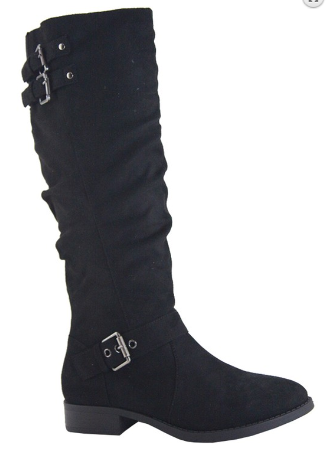 Black Suede Knee High Flat Boots