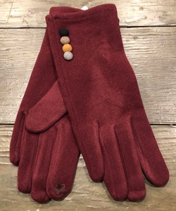 Burgundy Faux Suede Gloves with Button Decoration