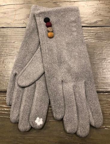 Grey Faux Suede Gloves with Button Decoration