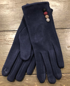 Navy Faux Suede Gloves with Button Decoration