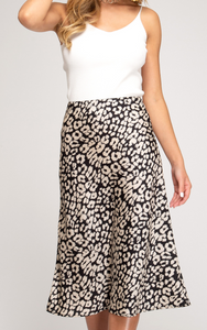 Black Leopard Print Satin Midi Skirt