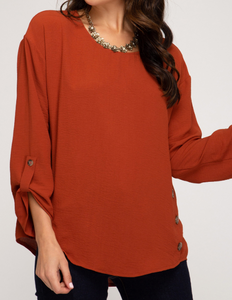 Rust Long Sleeve Woven Top