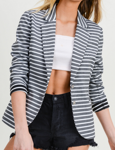 Black/Ivory Striped Blazer