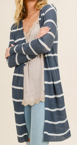 Charcoal/White Extra Long Cardigan