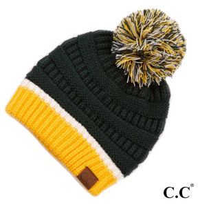 CC Green/Gold Hat with Pom