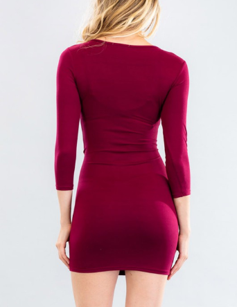 Burgundy Ruched Bodycon Dress