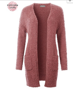Mauve Long Popcorn Cardigan