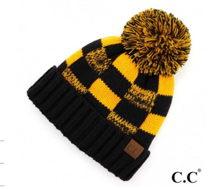 CC Black/Gold Lined Hat w/ Pom