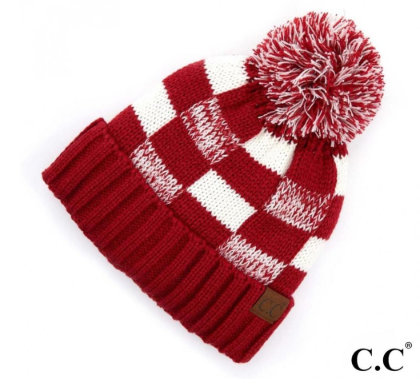 CC White/Red Lined Hat w/ Pom
